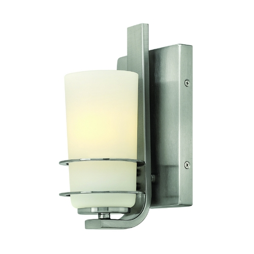 Hinkley Lighting Modern Sconce with White Glass in Brushed Nickel Finish 52700BN