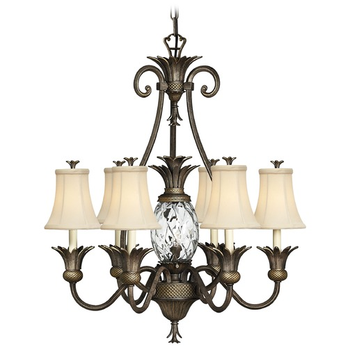 Hinkley 7-Light Tropical Chandelier with Beige/Cream Shade in Pearl Bronze Finish 4886PZ