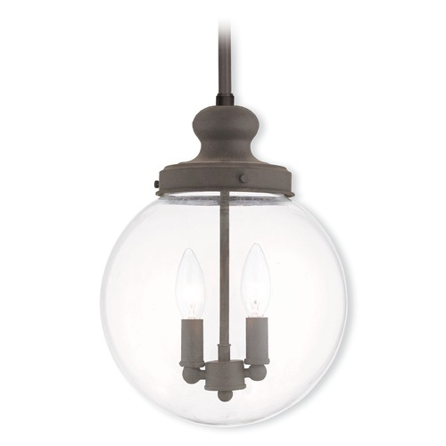 Livex Lighting Livex Lighting Sheffield Bronze Mini-Pendant Light with Globe Shade 50904-07