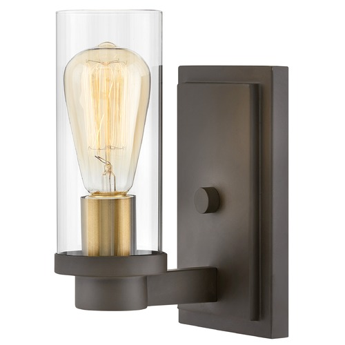 Hinkley Hinkley Midtown Oil Rubbed Bronze / Heritage Brass Sconce with Clear Glass 4970OZ