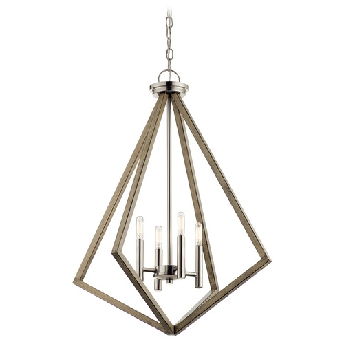 Kichler Lighting Deryn 4-Light Distressed Antique Gray Chandelier with Exposed Bulb 43034DAG