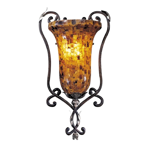 Metropolitan Lighting Sconce Wall Light with Amber Glass in Cattera Bronze Finish N6511-468