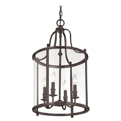 Hudson Valley Lighting Pendant Light with Clear Glass in Distressed Bronze Finish 1315-DB