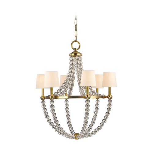 Hudson Valley Lighting Chandelier with White Shades in Aged Brass Finish 3116-AGB-WS