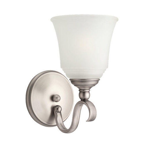 Sea Gull Lighting Sconce Wall Light with White Glass in Antique Brushed Nickel Finish 49380BLE-965