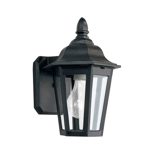 Sea Gull Lighting Outdoor Wall Light with Clear Glass in Black Finish 8822-12