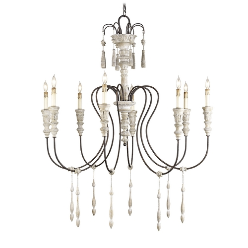 Currey and Company Lighting Chandelier in Stockholm White/rust Finish 9120