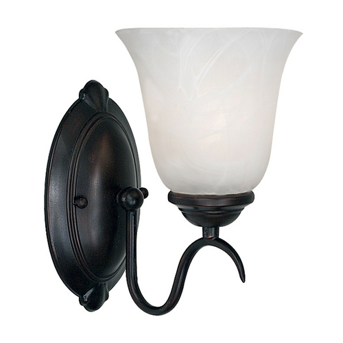Kenroy Home Lighting Modern Sconce Wall Light with Alabaster Glass in Oil Rubbed Bronze Finish 90211ORB