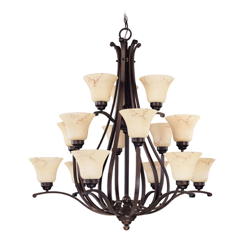 Nuvo Lighting Chandelier with Beige / Cream Glass in Copper Espresso Finish 60/1404