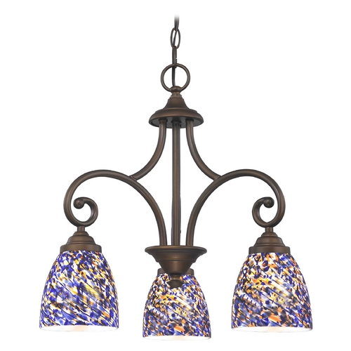 Design Classics Lighting Mini-Chandelier with Blue Glass in Neuvelle Bronze Finish 716-220 GL1009MB