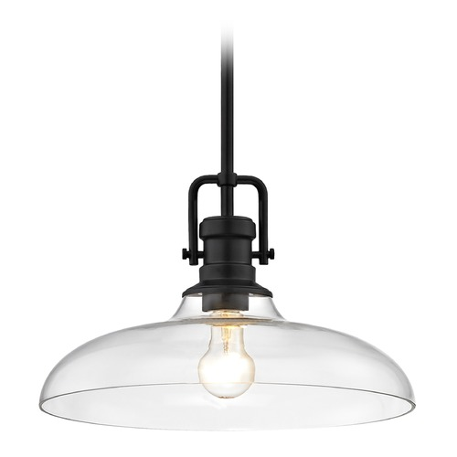 Design Classics Lighting Industrial Clear Glass Pendant Light Black Finish  14-Inch Wide 1763-07 G1784-CL