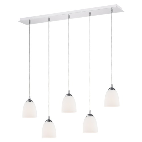 Design Classics Lighting 36-Inch Linear Pendant with 5-Lights in Chrome Finish with Shiny Opal White Glass 5835-26 GL1024MB