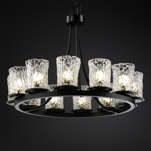 Justice Design Group Justice Design Group Veneto Luce Collection Chandelier GLA-8768-16-CLRT-MBLK