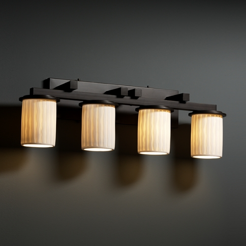 Justice Design Group Justice Design Group Limoges Collection Bathroom Light POR-8774-10-WFAL-DBRZ