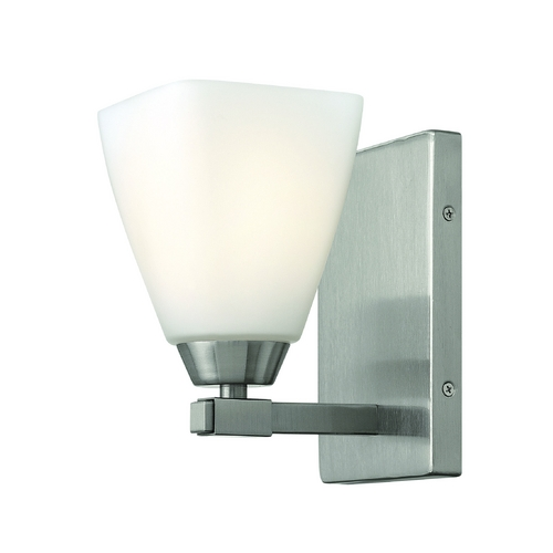 Hinkley Lighting Modern Sconce with White Glass in Brushed Nickel Finish 51350BN