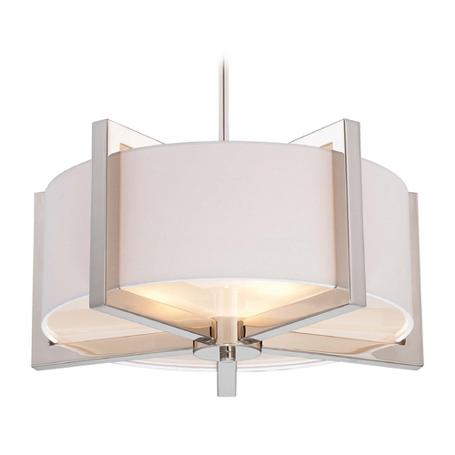 Metropolitan Lighting Drum Pendant Light with White Shade in Polished Nickel Finish N6264-613