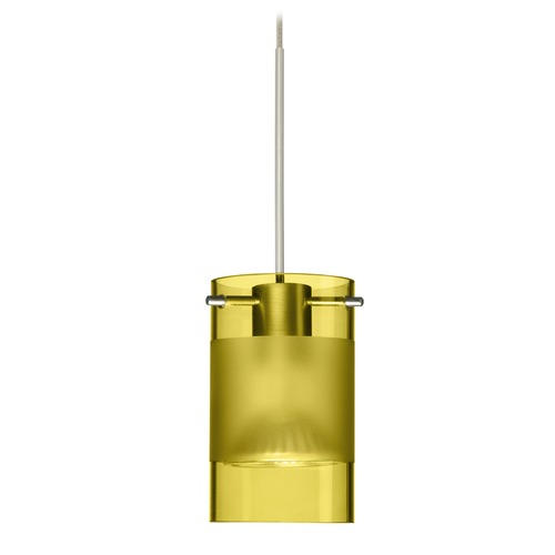Besa Lighting Besa Lighting Scope Satin Nickel LED Mini-Pendant Light with Cylindrical Shade 1XT-6524EL-LED-SN