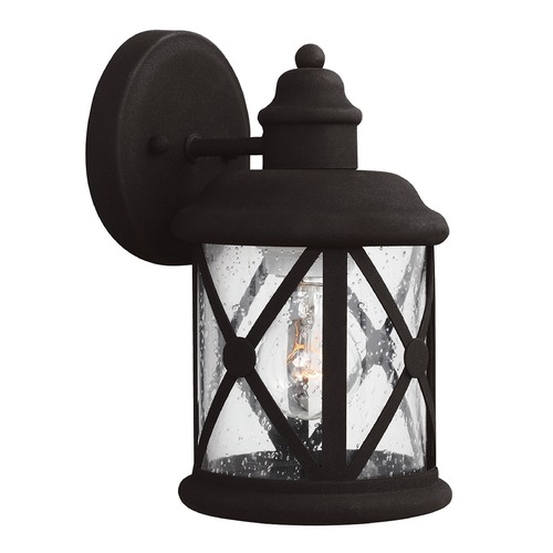 Sea Gull Lighting Seeded Glass Outdoor Wall Light Black Sea Gull Lighting 8521401-12