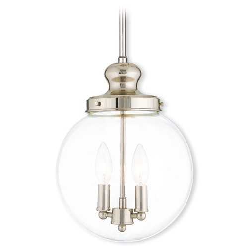Livex Lighting Livex Lighting Sheffield Polished Nickel Mini-Pendant Light with Globe Shade 50904-35