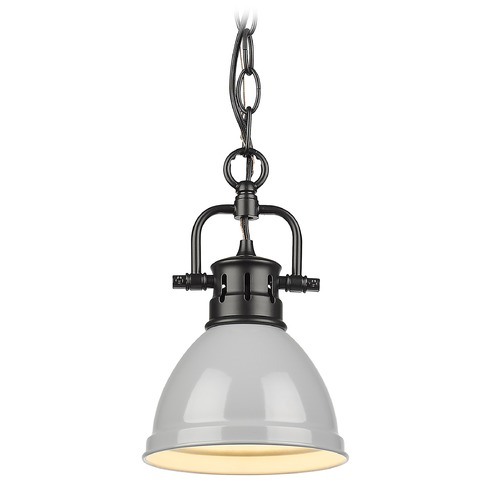 Golden Lighting Golden Lighting Duncan Black Mini-Pendant Light with Grey Shade 3602-M1LBLK-GY