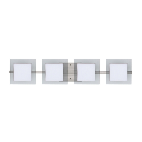 Besa Lighting Modern Bathroom Light with White Glass in Satin Nickel Finish 4WS-773539-SN