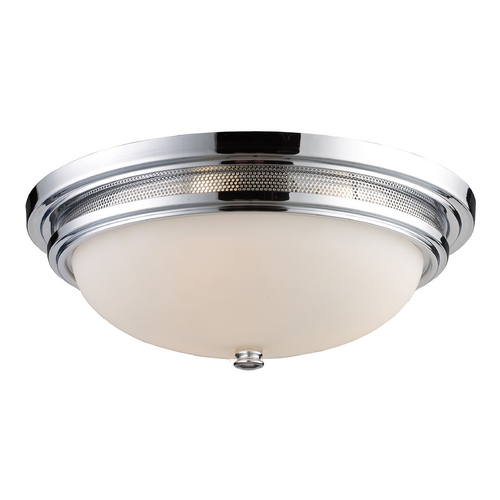 Elk Lighting Flushmount Light with White Glass in Polished Chrome Finish 20131/3