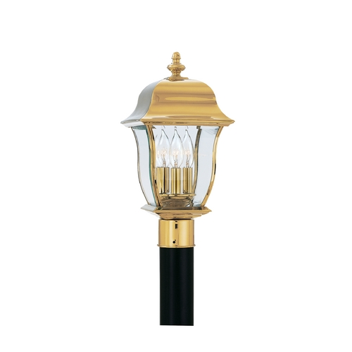 Designers Fountain Lighting Post Light with Clear Glass in Polished Brass Finish 1556-PVD-PB