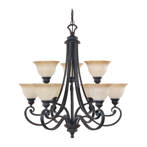 Designers Fountain Lighting Chandelier with Beige / Cream Glass in Natural Iron Finish 96189-NI