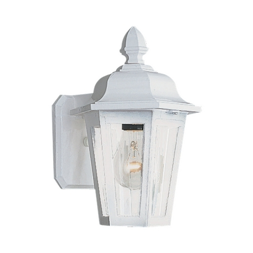Sea Gull Lighting Outdoor Wall Light with Clear Glass in White Finish 8822-15