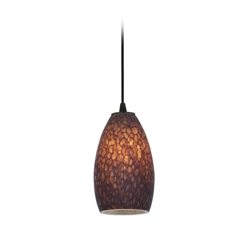 Access Lighting Modern Mini-Pendant Light with Brown Glass 28012-2C-ORB/BRST