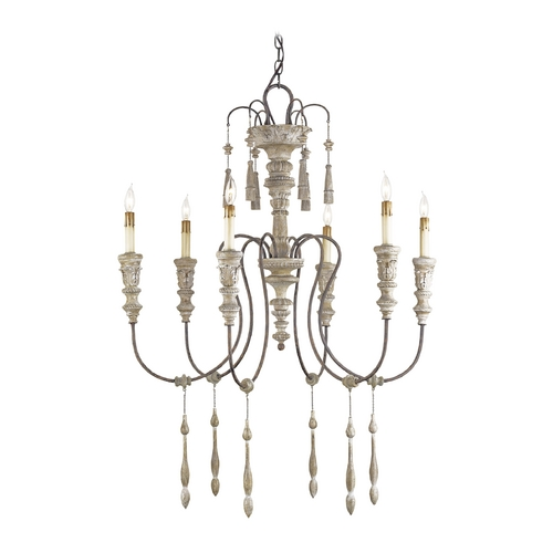 Currey and Company Lighting Chandelier in Stockholm White/rust Finish 9119