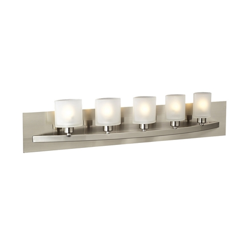 PLC Lighting Modern Bathroom Light with White Glass in Satin Nickel Finish 645 SN