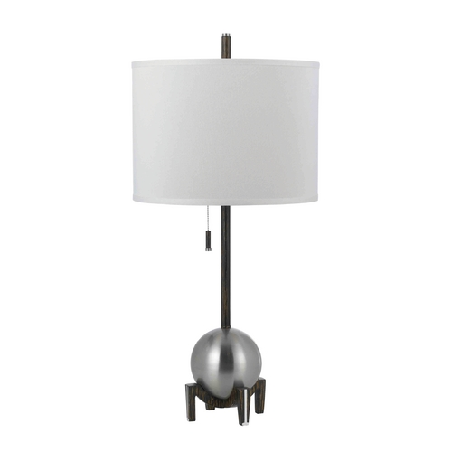 AF Lighting Modern Table Lamp with White Shade in Silver Finish 8252-TL