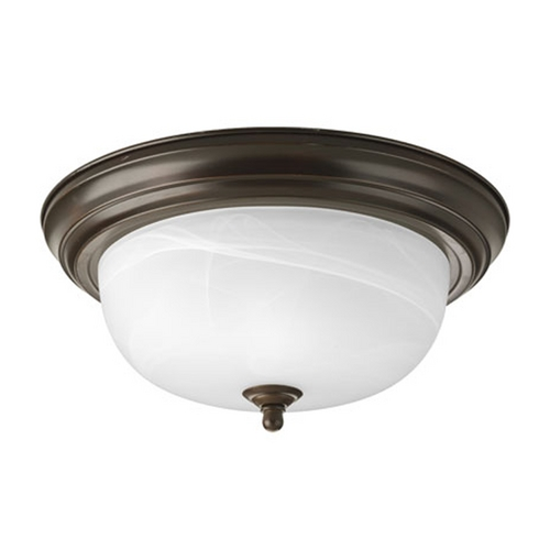 Progress Lighting Progress Flushmount Light with Alabaster Glass in Bronze Finish P3925-20