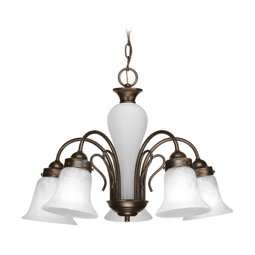 Progress Lighting Chandelier with Alabaster Glass in Antique Bronze Finish P4391-20