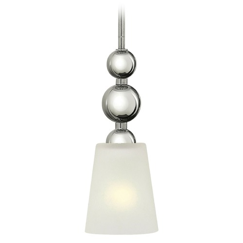 Hinkley Lighting Vintage Mini-Pendant Light with White Glass in Polished Nickel Finish 3447PN