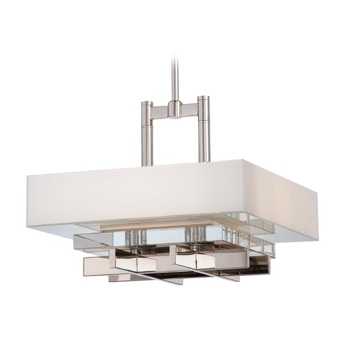 Metropolitan Lighting Crystal Pendant Light in Polished Nickel with White Square Shade  N6265-613