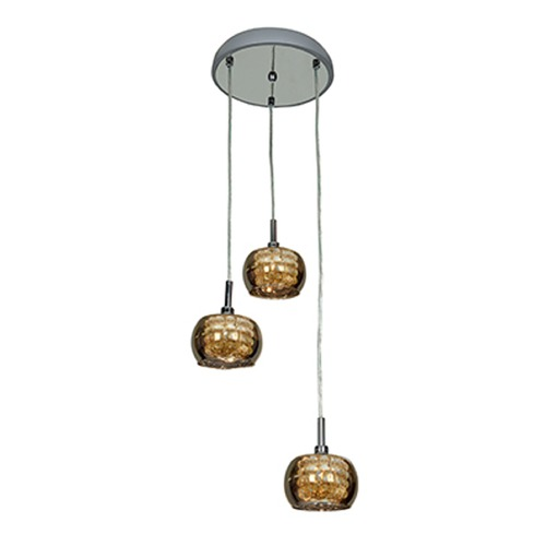 Access Lighting Access Lighting Glam Chrome Multi-Light Pendant with Bowl / Dome Shade 52117-CH/MIR