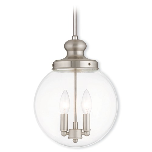 Livex Lighting Livex Lighting Sheffield Brushed Nickel Mini-Pendant Light with Globe Shade 50904-91