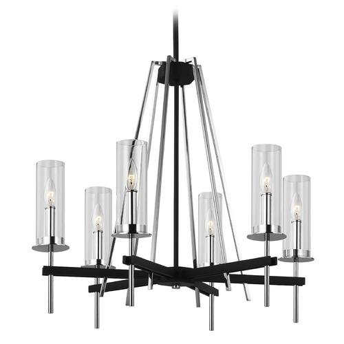Feiss Lighting Feiss Lighting Broderick Textured Black Chandelier F3225/6TXB/CH
