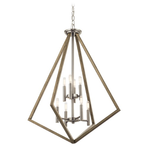 Kichler Lighting Deryn 8-Light Distressed Antique Gray Chandelier with Exposed Bulb 43036DAG