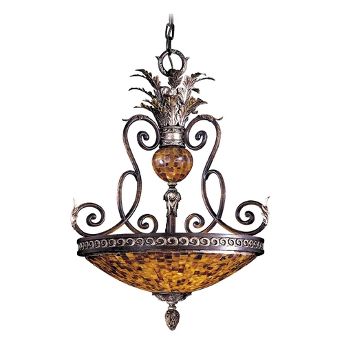 Metropolitan Lighting Pendant Light with Amber Glass in Cattera Bronze Finish N6513-468