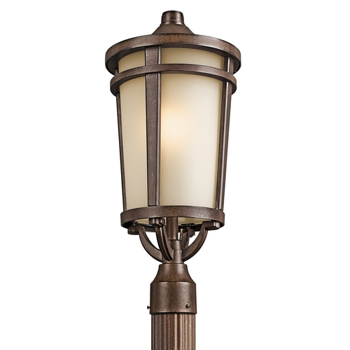 Kichler Lighting Kichler Post Light with Beige / Cream Glass in Brown Stone Finish 49074BST