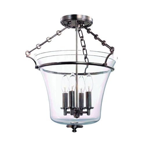 Hudson Valley Lighting Semi-Flushmount Light with Clear Glass in Historic Nickel Finish 832-HN