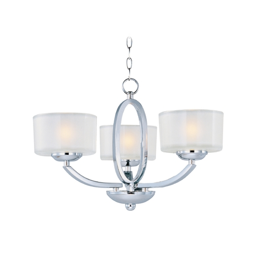 Maxim Lighting Modern Semi-Flushmount Light with White Glass in Polished Chrome Finish 19041FTPC