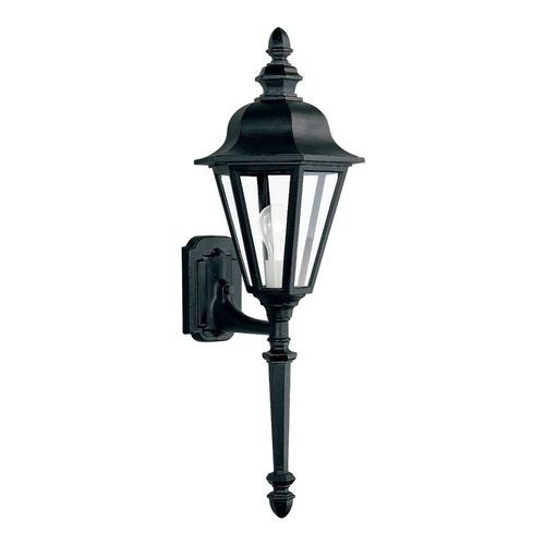 Sea Gull Lighting Outdoor Wall Light with Clear Glass in Black Finish 8823-12