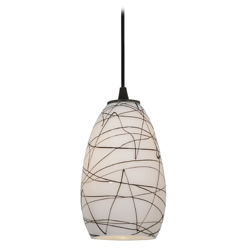 Access Lighting Modern Mini-Pendant Light with White Glass 28012-2C-ORB/BLWH