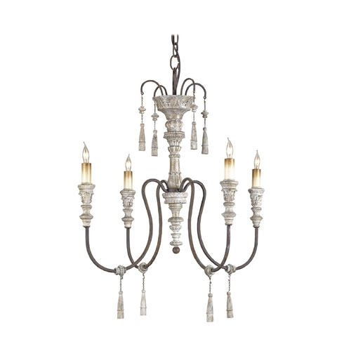 Currey and Company Lighting Chandelier in Stockholm White/rust Finish 9118