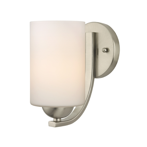 Design Classics Lighting Satin Nickel Wall Sconce with White Cylinder Glass Shade 585-09 GL1028C