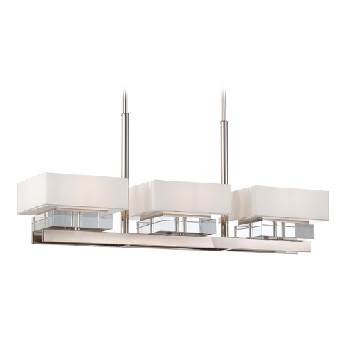 Metropolitan Lighting Crystal Island Light with White Shades in Polished Nickel Finish N6266-613